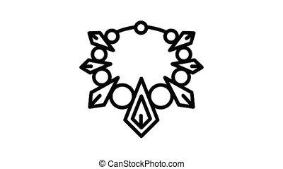 Fashion necklace icon animation best object on white background