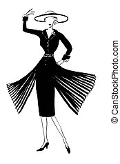 fashion of 20th Century - dark silk dress with sleeves and pleating in 50th years