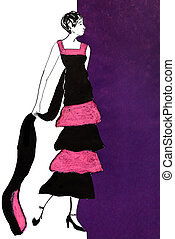 full dancing frock in pink and black chiffon stripes 20th...
