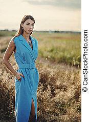 Fashion outdoor photo of beautiful woman in luxurious blue dress, posing in summer field.