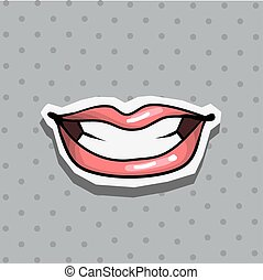 Fashion patch badge with sexy cool lips pop art style sticker with dot background