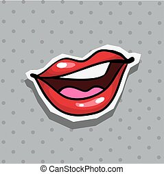 Fashion patch badge with sexy nasty cool lips pop art style sticker with dot background