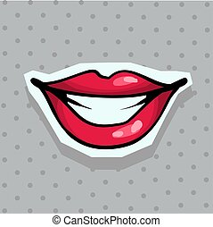Fashion patch badge with sexy smiling lips pop art style sticker with dot background