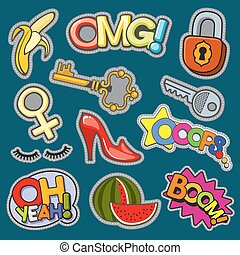 Fashion patch badges 80s-90s girl style vector set
