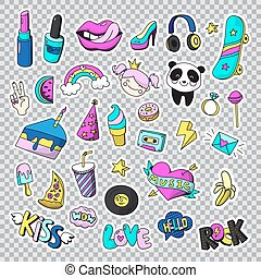 Fashion Patch Badges Icon Set