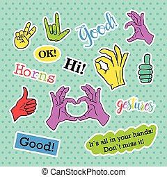 Fashion patch badges. Pop art Hands set. Stickers, pins, patches and handwritten notes collection in cartoon 80s-90s comic style. Trend. Vector illustration isolated.