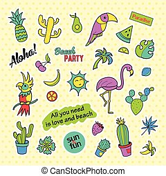 Fashion patch badges. Pop art Tropical set. Stickers, pins, patches and handwritten notes collection in cartoon 80s-90s comic style. Trend. Vector illustration isolated.