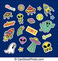 Fashion patch badges. Pop art UFO set. Stickers, pins, patches and handwritten notes collection in cartoon 80s-90s comic style. Trend. Vector illustration isolated.