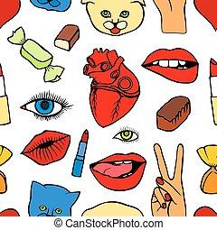 Fashion patch badges seamless pattern