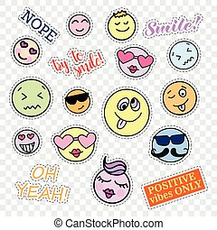 Fashion patch badges. Smiles set. Stickers, pins, patches and handwritten notes collection in cartoon 80s-90s comic style. Trend. Vector illustration isolated on transparent background