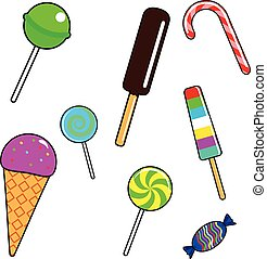 Fashion patch badges with candy, lollipops and ice cream.