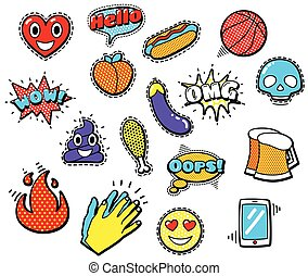 Fashion Patch Badges with Heart, Speech Bubbles