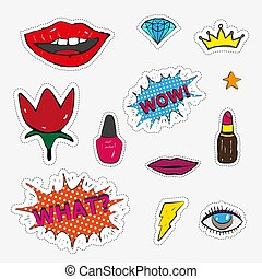 Fashion patch badges with lips, hearts, speech bubbles, stars and other elements. Vector illustrati