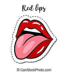Fashion patch element lips with tongue - Fashion patch...