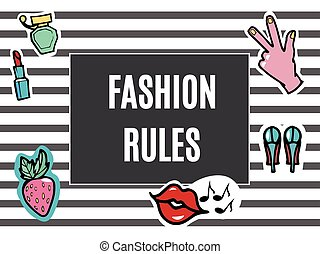 Fashion Patches Set. Fashion Rules. Modern Pop Art Stickers. Lips, Hand. Strawberry. Vector Illustration.