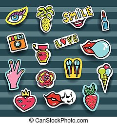 Fashion Patches Set. Modern Pop Art Stickers. Heart, Lips, Hands, Jeans, Eyes, Perfume, Lipstic. Vector Illustration.