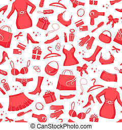 seamless pattern with icons of fashion and shopping