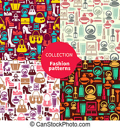 Fashion patterns. Set of seamless patterns with beauty female icons