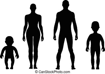 Fashion people solid template figure silhouette (front view), vector illustration isolated on white background