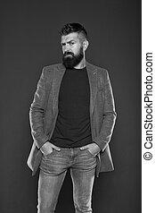 fashion., permanece, brazos, bigote, modelo, barba, guy.,...