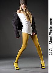Fashion photo of a beautiful blond girl