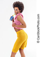 attractive african american woman in colorful clothes