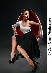 Fashion photo of beautiful lady in elegant dress