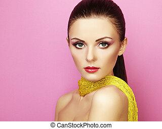 Fashion photo of beautiful woman under a blue veil
