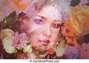 Fashion photo of beautiful women under veil