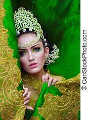Fashion photo of beautiful women with crown