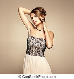 Fashion photo of young beautiful woman