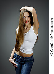 Fashion photo of young magnificent woman. Girl posing.