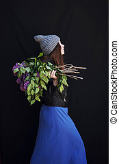 Fashion photo of young magnificent woman. Girl posing. Studio ph