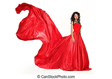 Fashion photo of young magnificent woman in red dress isolated on white background. Studio photo