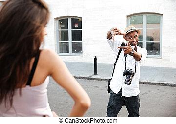 Fashion photo session on the street