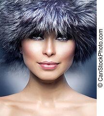 fashion., piękny, dziewczyna, w, futro, hat., zima, kobieta
