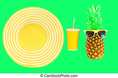 Fashion pineapple with sunglasses and yellow straw beach hat cup juice on green background top view