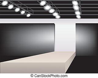 Fashion podium - illustration of empty runway. Fashion...