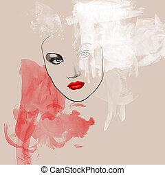 Fashion Porträt - Schöne junge Frau in Wasserfarben