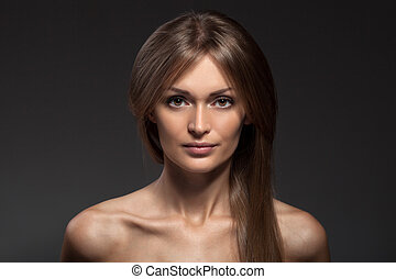 Fashion Portrait. Beautiful Woman Face. Long Healthy Hair.