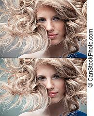 fashion portrait curly blonde