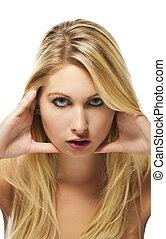 fashion portrait of a beautiful blonde woman on white background