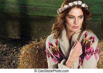 Fashion Portrait of a Beautiful Farm Girl
