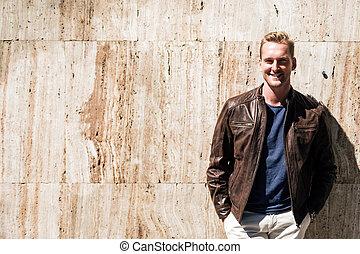 Fashion portrait of a blonde man