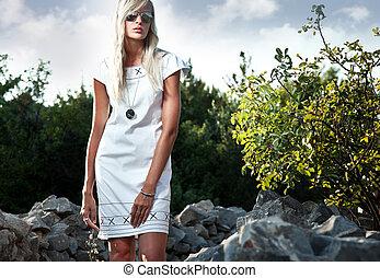 Fashion portrait of a sexy blonde