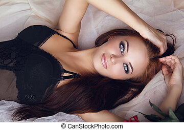 Fashion portrait of beautiful brunette woman in provocative...