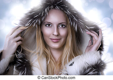 Fashion portrait of beautiful cute woman