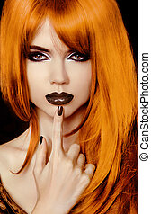 Fashion Portrait Of Beautiful Girl. Vogue Style Woman. Hairstyle. Black Lips And Polish Nails.