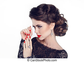 Fashion Portrait Of Beautiful Girl with red nails and lips. Vogue
