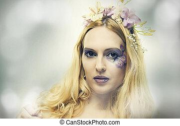 Fashion portrait of beautiful woman. Fairy